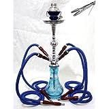 "4 hose 22"" Blue Hookah shisha nargila bars smoking pipe glass water Vase new"
