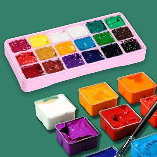 HIMI Gouache Paint Set Jelly Cup 18 Vibrant Colors Non Toxic Paints with Portable Case Palette for Artist Canvas Painting Watercolor Papers, Rich Pigment, 30ml/Cup