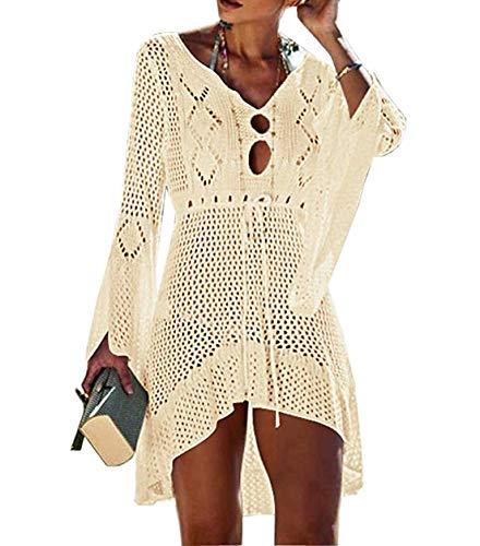 c2b404cacc0 Women's Bathing Suits Cover ups Lace Crochet Bikini Dresses Beachwear  Hollow Out Beige