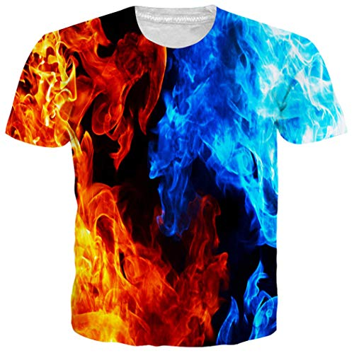 Leapparel Plus Size Multicolored Nebula Printed Hipster Novelty T Shirts Tees Round Neck Clothing XL ()