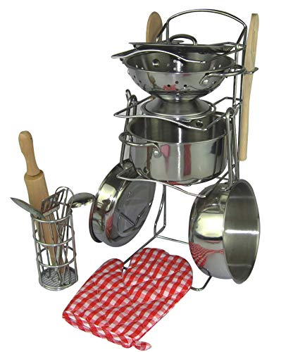 - Oojami 15 Pcs Pretend Play Kitchen Cookware Set Stainless Steel Pots and Pans