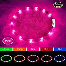 Led Dog Collar,USB Rechargeable,Glowing Pet Dog Collar Light for Night Walking Safety, Water Resistant Flashing Light Up Dog Necklace for Small,Medium,Large Dogs(Pink)