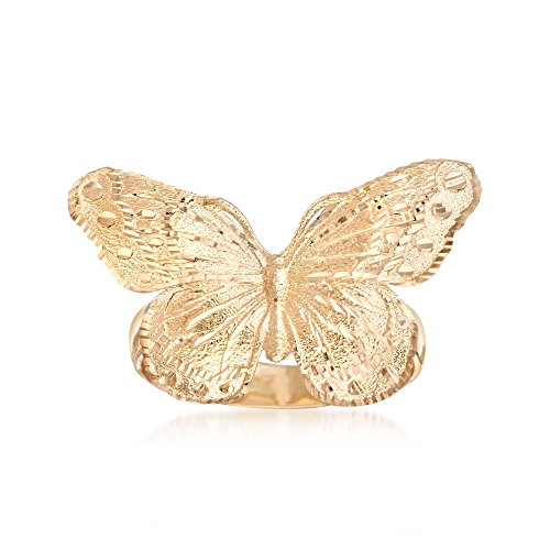 Ring Diamond Cut Butterfly (Ross-Simons Italian 18kt Yellow Gold Diamond-Cut Butterfly Ring)