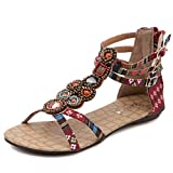 Nadition SummerBohemia Sandals ❤️️ WomenRhinestone Gladiator Sandals Weaving Ethnic Style Flat Summer Beach Shoes Wine