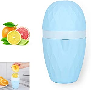 Alanfox Manual Juicer, 2020 New Hand Squeezer Manual Lid Citrus Lemon Orange Juicer Manual Fruit Press Juice Tool with Strainer and Container - Easy to Use and Clean, Blue