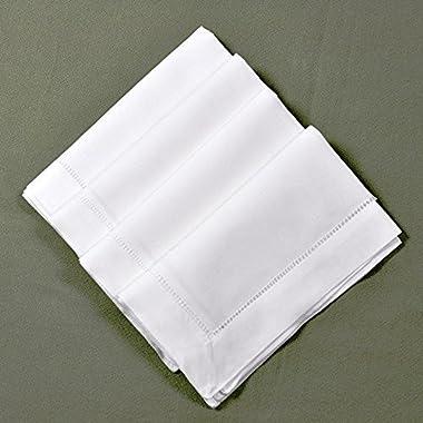 22  X 22  White Linen Hemstitched Dinner Napkins Set of 4 Large Linen Hem Stitch Luxury Cloth Napkin