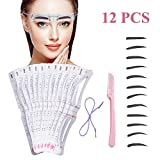 Eyebrow Stencil,12 Pcs Reusable Eyebrow Template With Strap, Eyebrow Shaping Kit Washable Eyebrow Assistant Tool,Eyebrows Grooming Stencil Kit Eyebrow Drawing Guide Card Microblading Template &1 Rozor