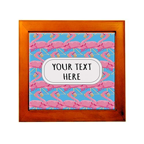Ceramic Tile in Wood Frame Custom Pink Flamingo Seemless Pattern A Adults