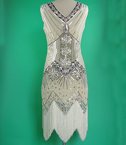 Style Clothing Neck Fringe whitewed 20's Gatsby Cream Heavy Beaded V Dresses Deco Long FORznZvx