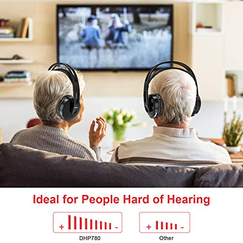 Wireless TV Headphones, RCA Over Ear Hi-Fi Stereo Headset for TV Watching PC VCD, Headphones with 2.4GHz RF Transmitter…
