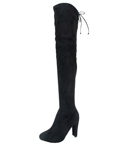 bfbb1397b36 Women's Over Knee High Block Chunky Heel Thigh Heel Faux Suede Boots