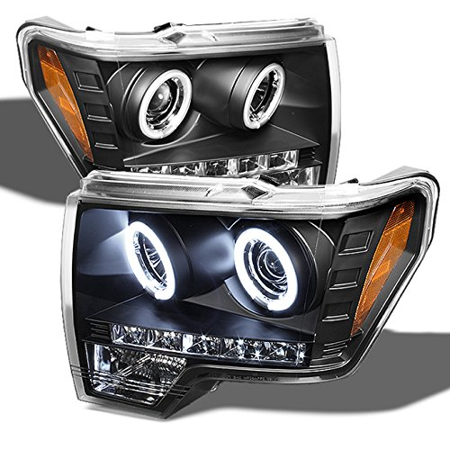 For Ford F150 F-150 Pickup Black Bezel CCFL Halo LED Projector Headlights Front Lamps Replacement