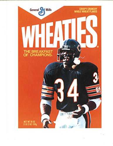 Walter Payton #34 Wheaties Chicago Bears Box Image 8X10 Unsigned (Walter Payton Autographed Jersey)