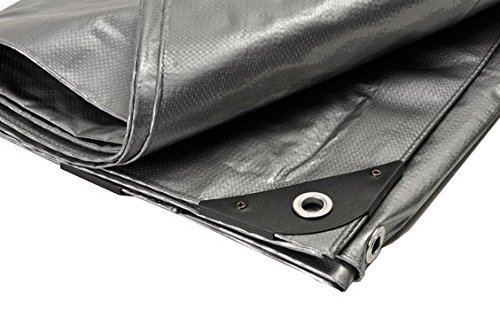 Canopies and Tarps Heavy Duty Silver Poly Premium Tarp, 12' x 36' - Rectangular Tarpaulin with Grommets Spaced 18