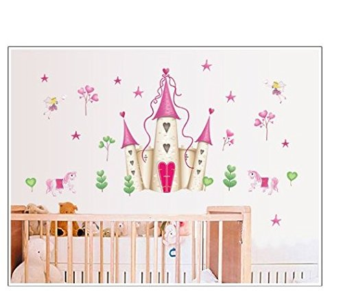 Wall Stickers Art Large Princess Fairy Castle Wall Stickers Wall Decals Kids Bedroom Nursery Beautyer