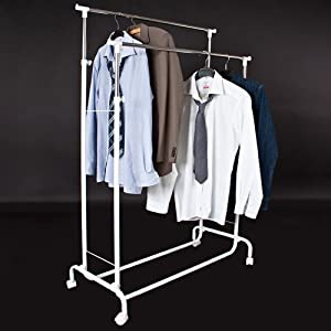 tectake clothes rack mobile garment rail double heavy duty. Black Bedroom Furniture Sets. Home Design Ideas
