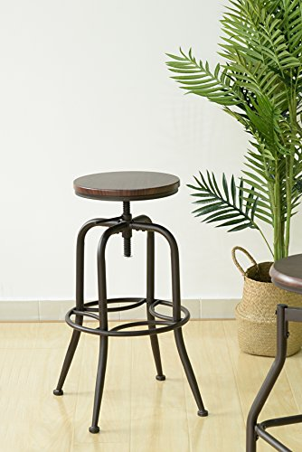 Black and Walnut Finish Industrial Style Adjustable Metal Swivel Counter Height Bar Stools with Legs Support (Bar Stool Adjustable Style)