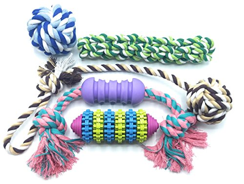 Best Rope Frisbee & Chewy Rubber Pets Toy Set | Tough Interactive Puppy Dog Teething Tug & Toss Toys | Durable & Virtually Indestructible For Even Large Dogs | Small Little Puppies Dig Chew Treats