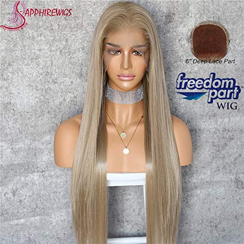 Sapphirewigs Ivory Brown Color Kanekalon Futura Hair No-Tangle Natural Hairline 6''×13'' Deep Big Lace Freedom Part Daily Makeup Women Ivory Brown Hair Synthetic Lace Front Wigs ()