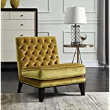Iconic Home FAC2693-AN Achilles Modern Neo Traditional Slipper Tufted Velvet Cognac, Accent Chair, Gold
