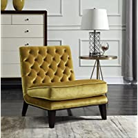Iconic Home FAC2693-AN Achilles Modern Neo Traditional Tufted Velvet Slipper Accent Chair, Cognac, Gold