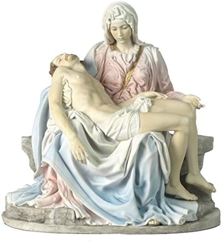 10.63 Inch Pieta and Michelangelo Decorative Figurine, Pink and Blue