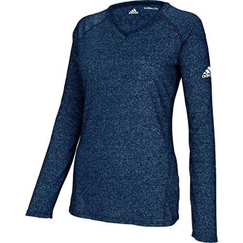 Navy Long Women's Shirt Climalite Heathered Sleeve Adidas CxXqPwx