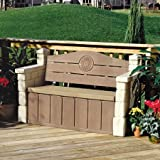 Comfortable Outdoor Storage Bench, Realistic Stone Texture that Blends in with Most Outdoor Decors Ideal for Storing Garden Equipment, Tools, Outdoor Toys and More