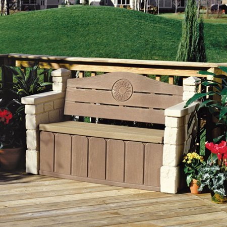 Comfortable Outdoor Storage Bench, Realistic Stone Texture that Blends in with Most Outdoor Decors Ideal for Storing Garden Equipment, Tools, Outdoor Toys and More by AVA Furniture (Image #3)