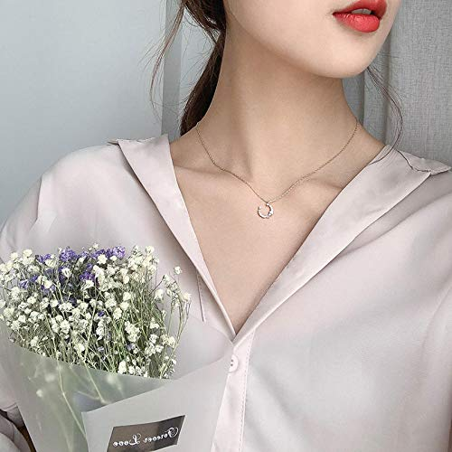 XGLHAMZ Moon Bend Simple Temperament Micro-Inlaid Sterling Silver Necklace Female Net Red Summer Personality Pendant Clavicle Chain