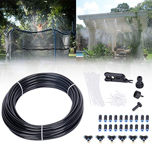 Misting Cooling System 49.21FT 15M Misting Line 15 Brass Mist Nozzles 3 4 and 1 2 Faucet Connector for Trampoline Water Sprinkler, Summer Outdoor Waterpark Mister for Patio Garden Umbrellas