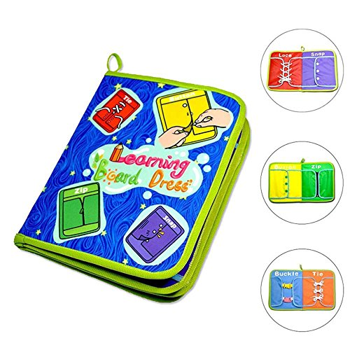 KOBWA Learning Board Dress, Boys and Girls Early Learning Basic Life Skills Toys Quiet Book, Educational Dress Boards Learn to Zip, Snap, Button, Buckle, Lace and Tie