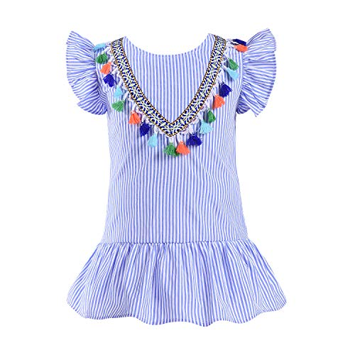 Baby Girl Clothes Summer Baby Girl Dress Blue and White Stripe Ruffle Sleeveless Princess Dress with Vintage Embroidery and Colorful Baby Girl Tassel Casual Dress Beach Dresses 2T