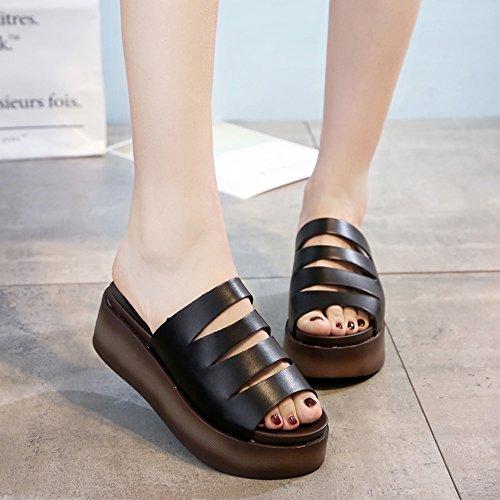 Chaussures 5cm Femme couleur Noir Sandales Pantoufles Uk5 Cn38 Noir Épais Haizhen Pour Été 5 Taille Femmes Blanc Blanc Occasionnels Sandales Les Femmes Eu38 Cool wIIpEq