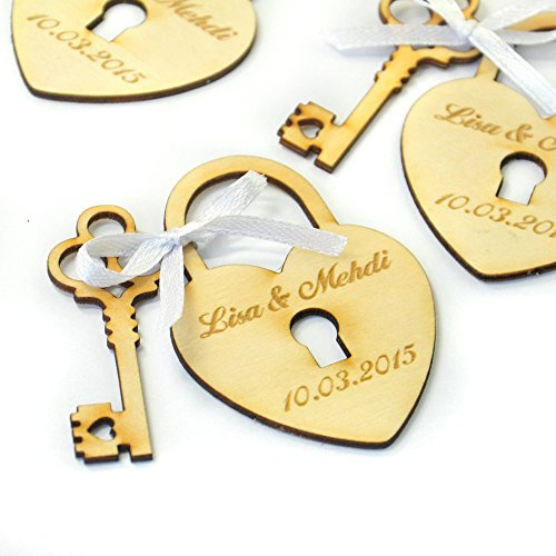 Personalized Wedding Favor Tags, Wood Heart and Key 50PCS, Rustic Wedding Wood Tag