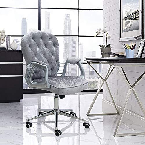 BAR STOOL premium sammet datorstol med mellanrygg – kontorsstol justerbar svängbar sammet executive extra stoppning Grått Grått
