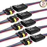 YETOR Way Car Waterproof Electrical Connector,4 pin Plug Auto Electrical Wire Connectors with Wire 16 AWG Marine for Car, Truck, Boat, and Other Wire Connections.(5 Pack)