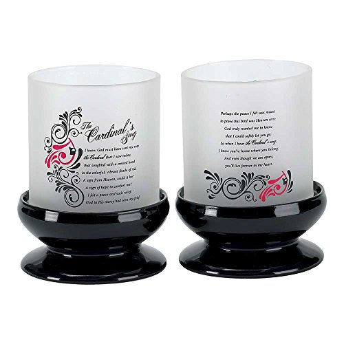 Dicksons The Cardinal's Song Poem Filigree Black and White 5.5 x 7 Dolomite Frosted Glass Candle Holder