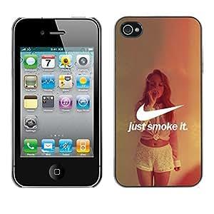 ROKK CASES / Apple Iphone 4 / 4S / JUST SMOKE IT / Slim Black Plastic Case Cover Shell Armor