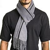 Alpine Swiss Mens Plaid Scarf Soft Winter Scarves Unisex,Gray Stripe,One Size