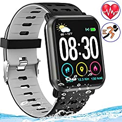 Fitness Tracker Watch with Heart Rate Blood Pressure/Oxygen Sleep Monitor IP68 Waterproof Smart Bracelet Music Control Weather Forecast Pedometer Activity Tracker Wristband for Man Women Kids (Gray)