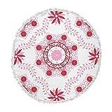 KESS InHouse Anneline Sophia Let's Dance Red Pink Floral Round Beach Towel Blanket