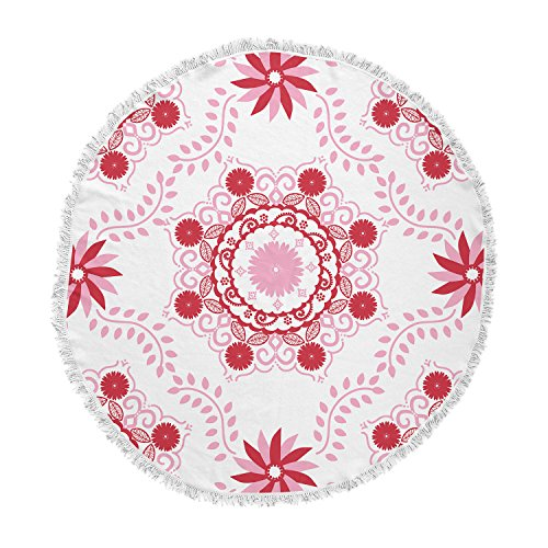 KESS InHouse Anneline Sophia Let's Dance Red Pink Floral Round Beach Towel Blanket by Kess InHouse
