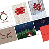 Note Card Cafe Christmas Card Assortment with Envelopes | 36 Pack | Blank Inside, Glossy Finish | Woodland Holiday | Set for Holidays, Winter, Gifts, Presents, Secret Santa, Work Parties
