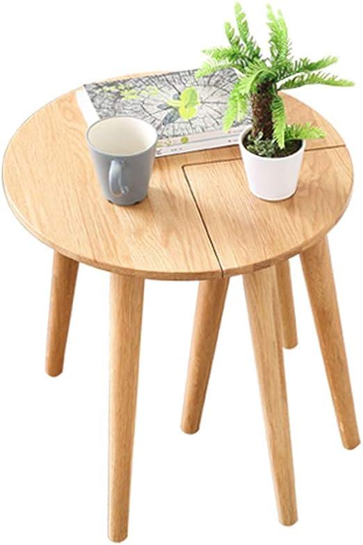 Mesa redonda de madera maciza de la sala de estar, mesa de centro ...