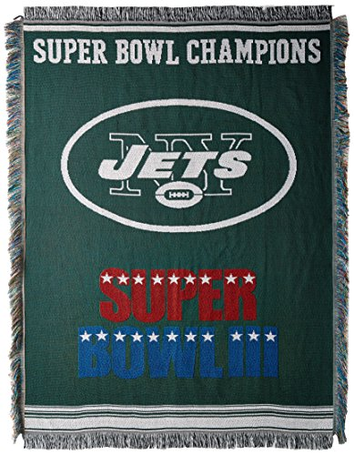 The Northwest Company Officially Licensed NFL New York Jets Commemorative Woven Tapestry Throw Blanket, 48