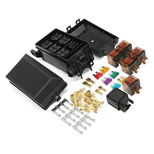 (HIGHMIGOU Automotive Relay, Car Fuse Box 6 Relay Socket Bracket 5 Road Safety Frame and 12V 80A 40A Relay (Multicolor))