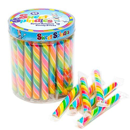 (Sweet Spindles Mini Hard Candy Sticks - 50-Piece Jar (Rainbow))