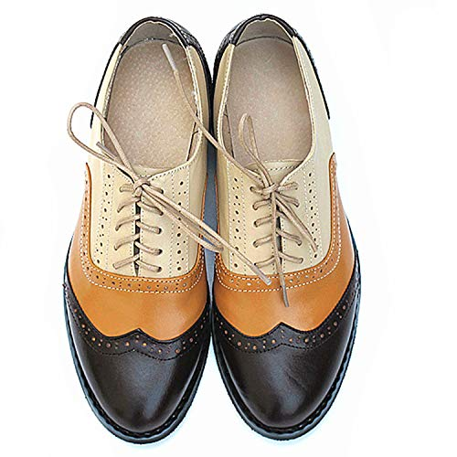 (Men Genuine Leather Brogues Oxford Flats Shoes for Mens Brown Handmade Vintage Casual Flat Shoes 2019,Wine Orange Nude,7.5)