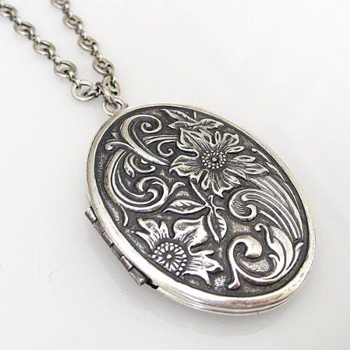 "Catherine Popesco Silvertone Locket Oval Flowers Necklace, 20""1503R"